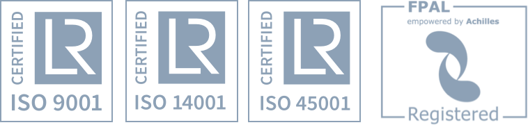 ISO 9001, ISO 14001, VCA, FPAL Registred